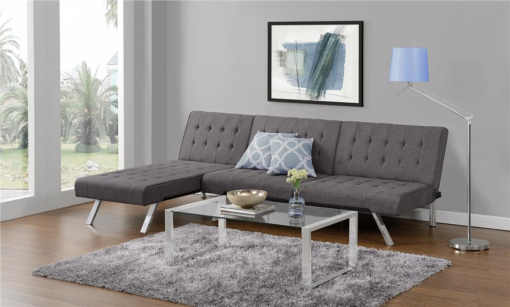 Best small sleeper sofa dhp emily convertible linen - Best furniture for small living room ...