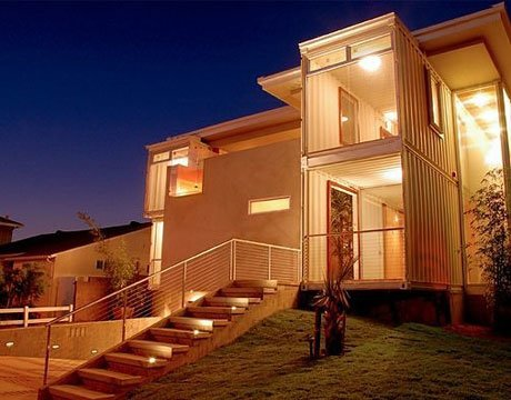 white shipping container home