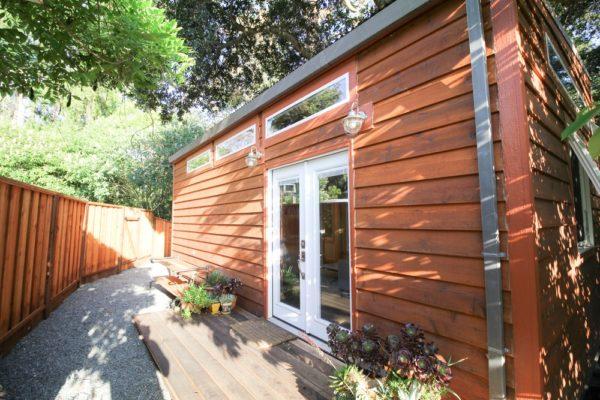 Exterior shots ofa 400 sq ft tiny house