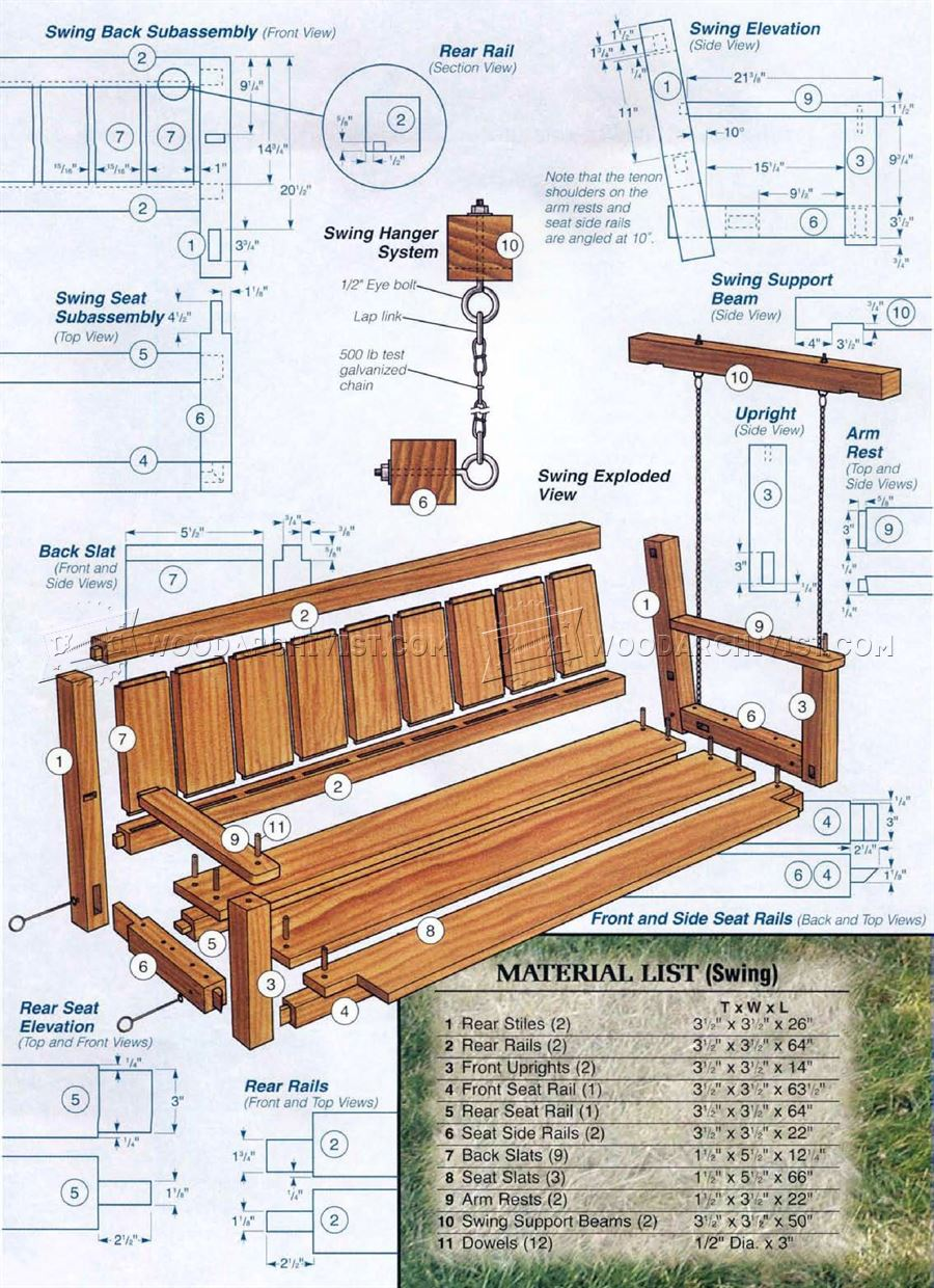 25 amazing diy porch swing plans to try right now it 39 s free for Build porch swing plans