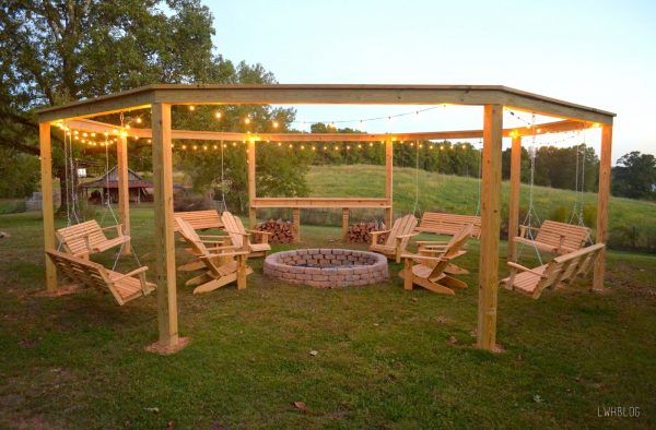 Build a Pergola Swing with a Fire Pit