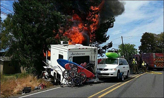SUV and Motorhome Collide
