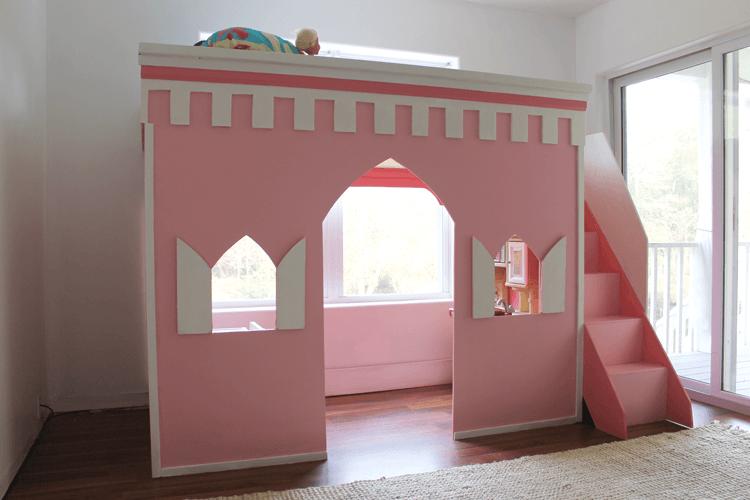 DIY princess castle loft bed