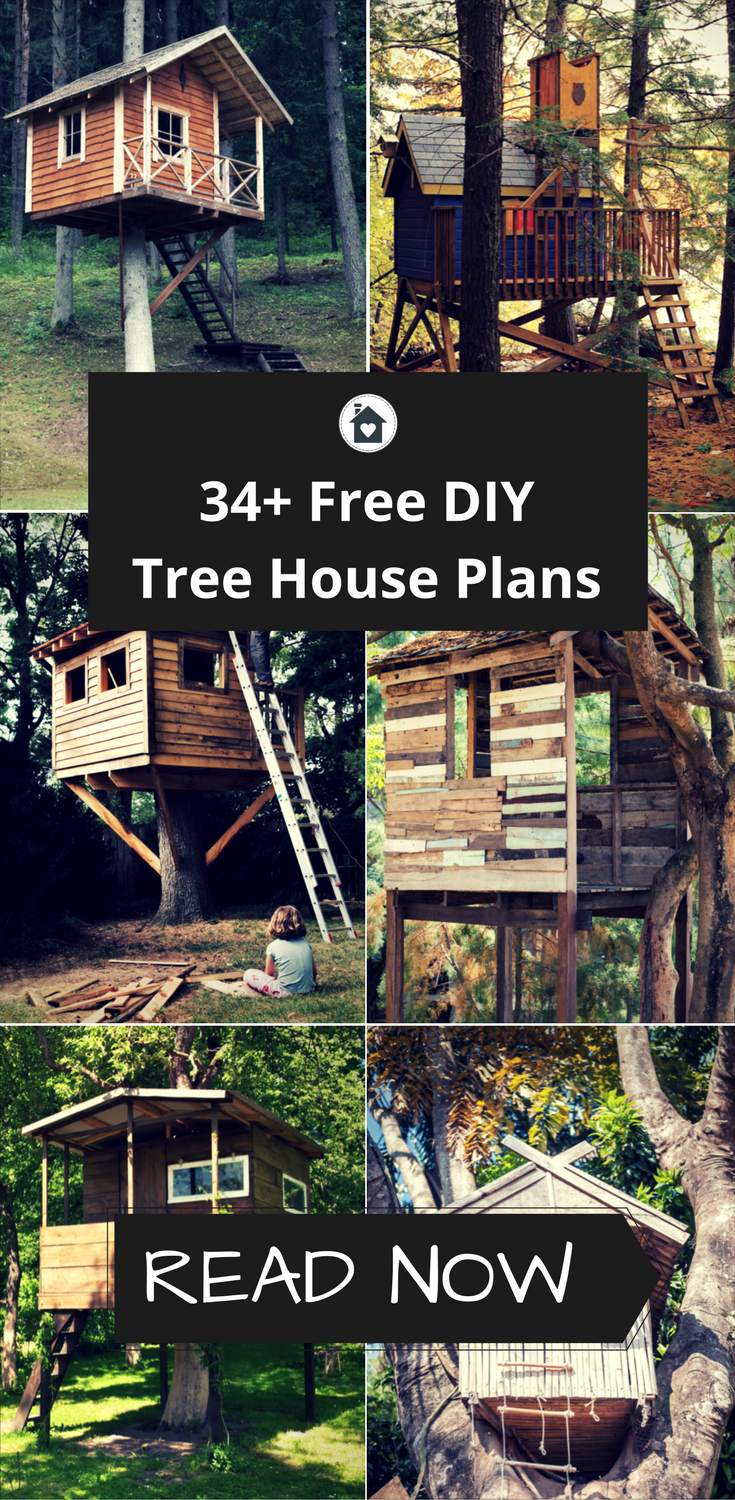 34 free diy tree house plans that will make your neighbor for Free treehouse blueprints
