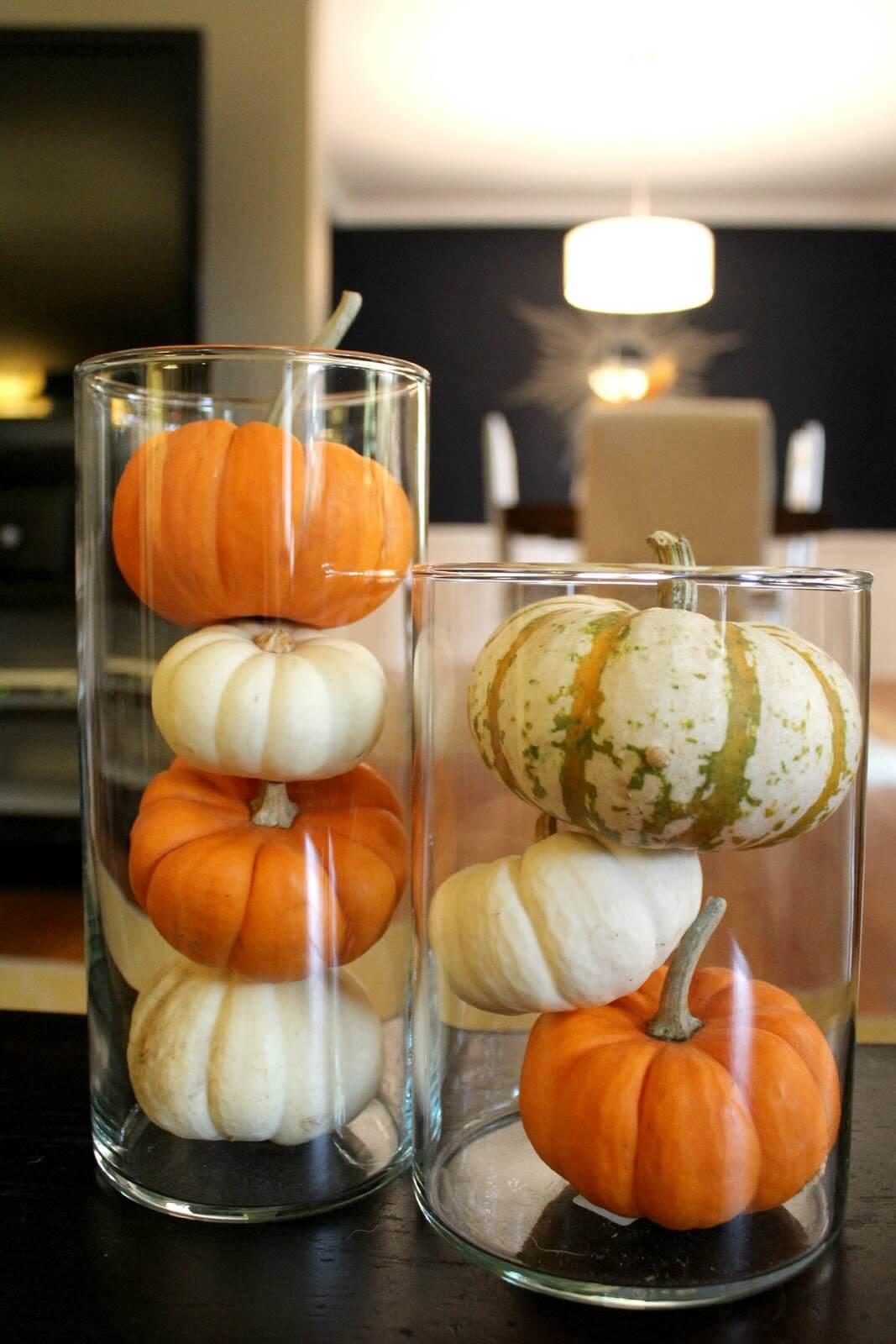 Mini Pumpkin in Large Clear Vase