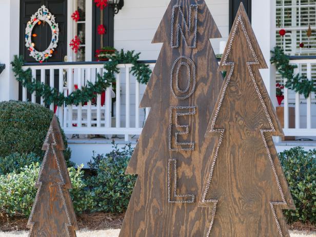 #19. Rustic Nail-Head Christmas Trees