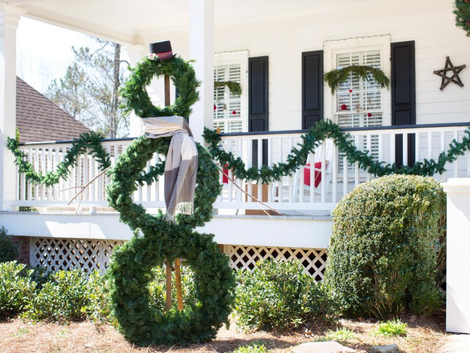 #26. A Life-Sized Wreath Snowman