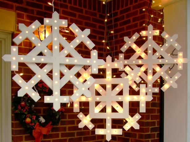 #16. Lighted Wooden Snowflakes