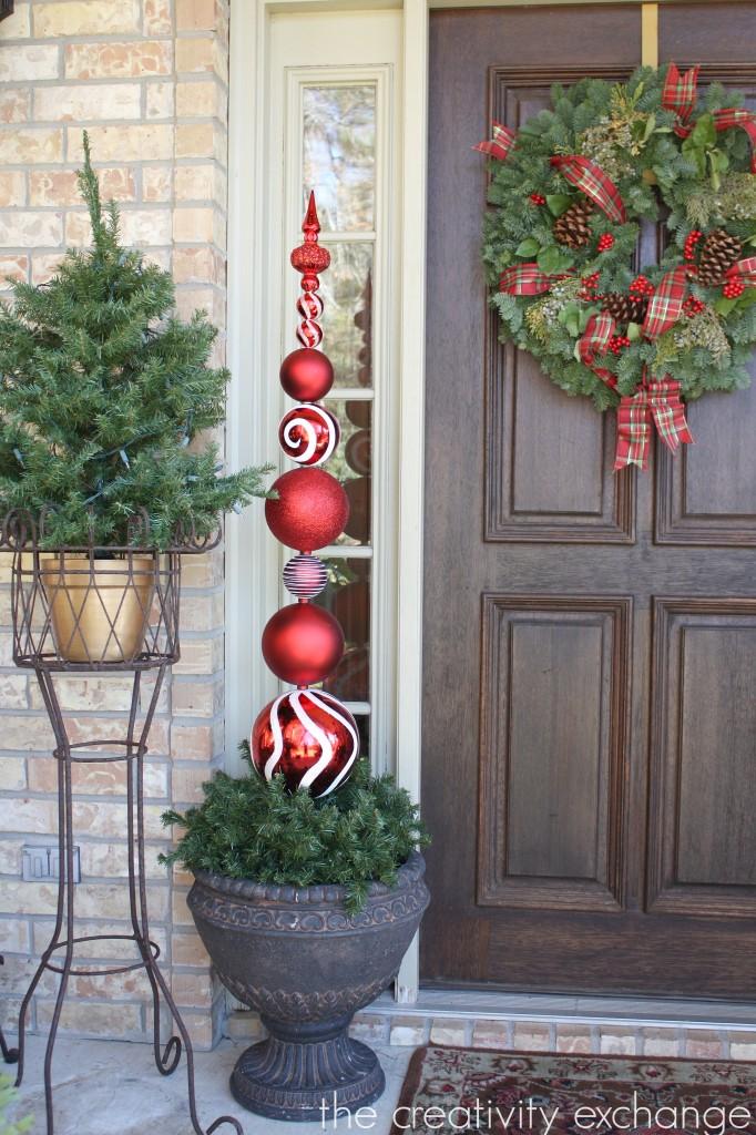 #11. DIY Tall Ornament Topiary