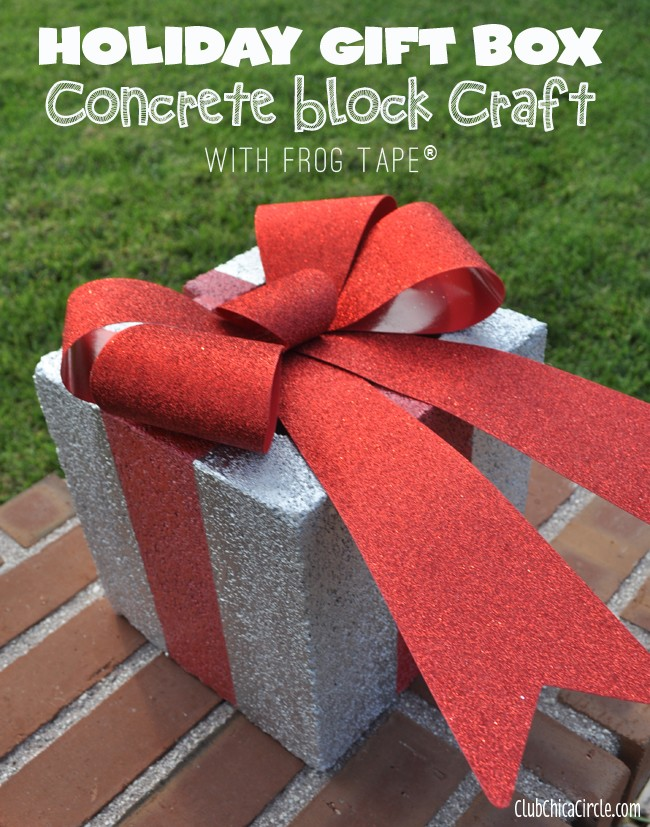 #3. Holiday Gift Box Concrete Block Craft